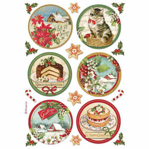 DFSA4477 Rice Paper A4 Happy Christmas Round