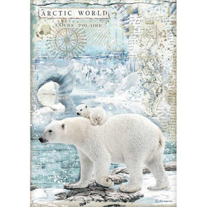 DFSA4478 Rice Paper A4 Arctic World Polar Bears