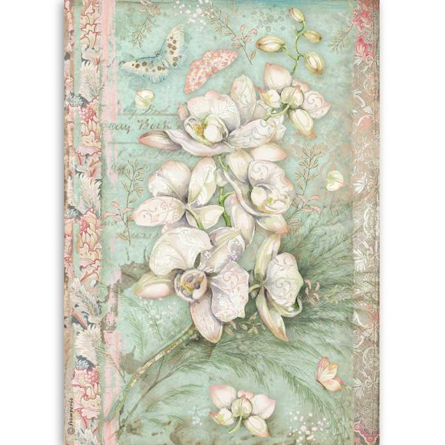 DFSA4508 Rice Paper A4 White Orchid