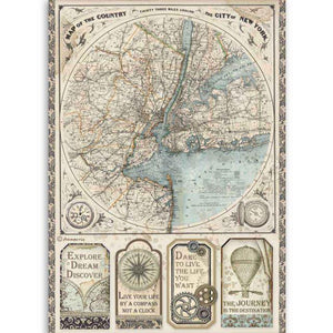 DFSA4515 Rice Paper A4 Sir Vagabond Map of New York