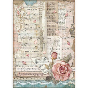 DFSA4539 Rice Paper A4 Passion Roses and Music