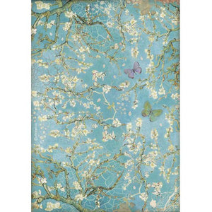 DFSA4546 Rice Paper A4 Atelier des Arts Blossom Blue Background