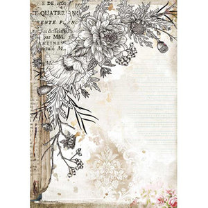 DFSA4553 Rice Paper A4 Romantic Journal Stylized Flower