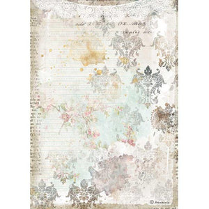 DFSA4556 Rice Paper A4 Romantic Journal Texture with Lace