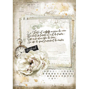 DFSA4557 Rice Paper A4 Romantic Manuscript and Clock