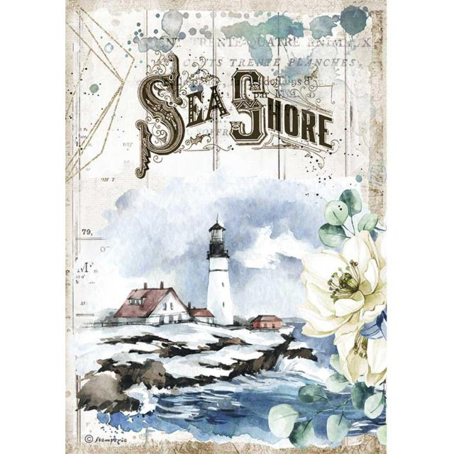 DFSA4558 Rice Paper A4 Romantic Sea Dream Sea Shore