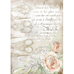 DFSA4565 Rice Paper A4 Romantic Threads Scissors and Roses