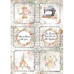 DFSA4568 Rice Paper A4 Romantic Threads Mini Cards