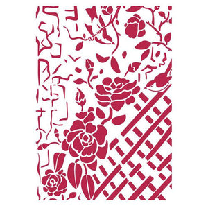 KSG440 Stencil G 21x29.7 Fence with Roses