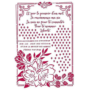 KSG457 Stencil G 21x29.7  Romantic Journal Flower With Frame