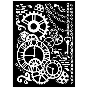 KSTD028 Thick Stencil 20x25 Steampunk Mechanism