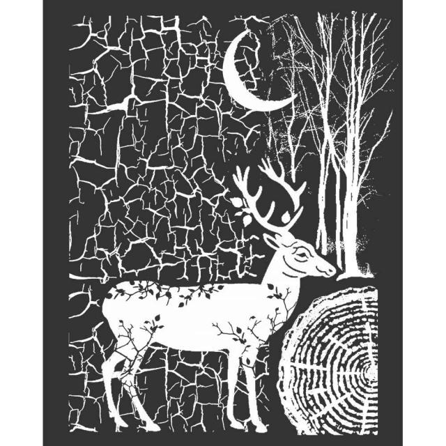 KSTD044 Thick Stencil 20x25 Cosmos Deer and Bark