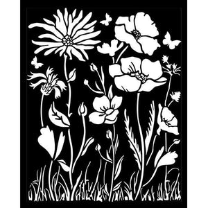 KSTD072 Thick Stencil 20x25 Atelier des Arts Poppy and Flower