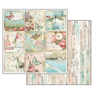 SBB536 Double Sided Single Sheet Wonderland Butterflies and Unicorns Cards