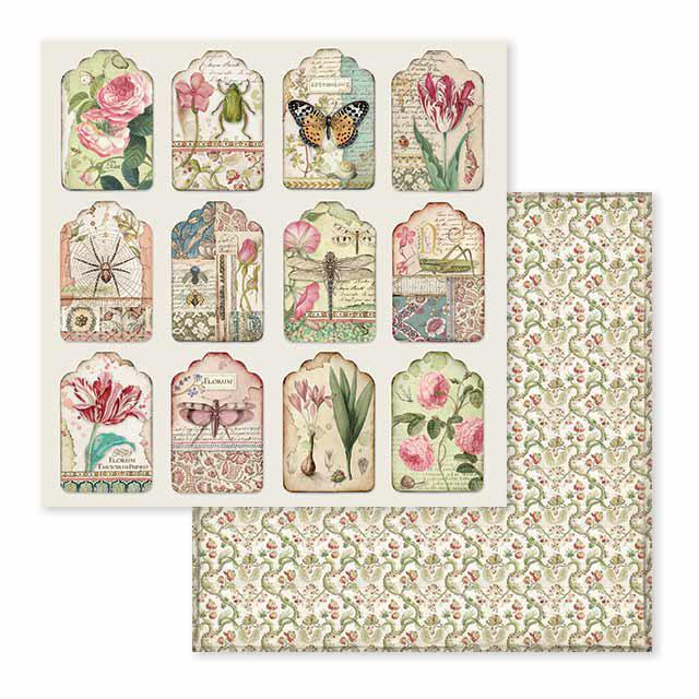 SBB591 Double Sided Single Sheet Spring Botanic Tags