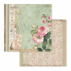 SBB592 Double Sided Single Sheet Spring Botanic English Roses with Snail