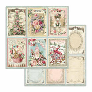SBB702 Double Sided Single Sheet Pink Christmas Cards