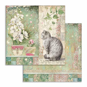 SBB752 Double Sided Single Sheet Cat and Vase