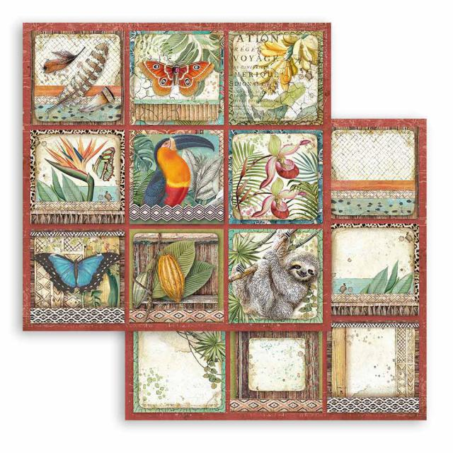 SBB767 Double Sided Single Sheet Amazonia Square Tags