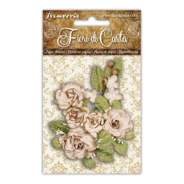 SF147 Flowers Ivory Roses and Foliage