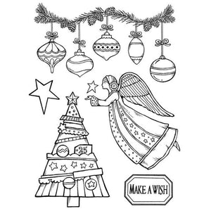 WTKCC162 HD Natural Rubber Stamp 14x18 Make a Wish Angel