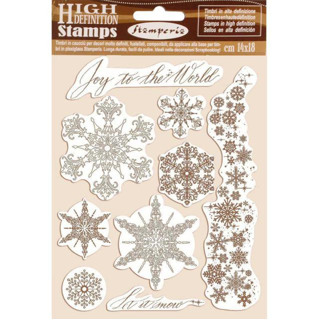 WTKCC167 HD Natural Rubber Stamp 14x18 Snowflakes