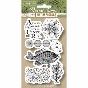 WTKCCR09 HD Natural Rubber Stamp 10x16.5 Forest Fish