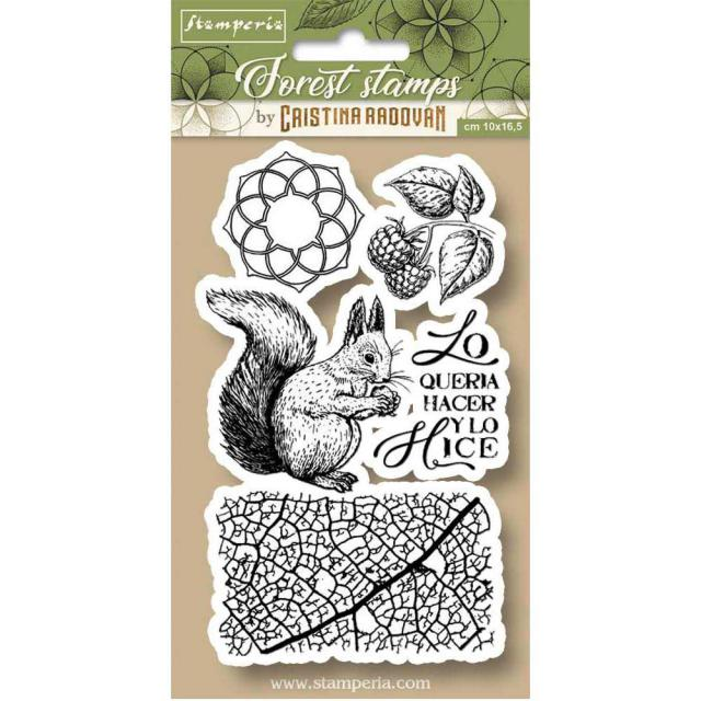 WTKCCR11 HD Natural Rubber Stamp 10x16.5 Forest Squirrel