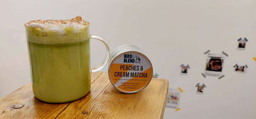 Peach Crumble Matcha Latte