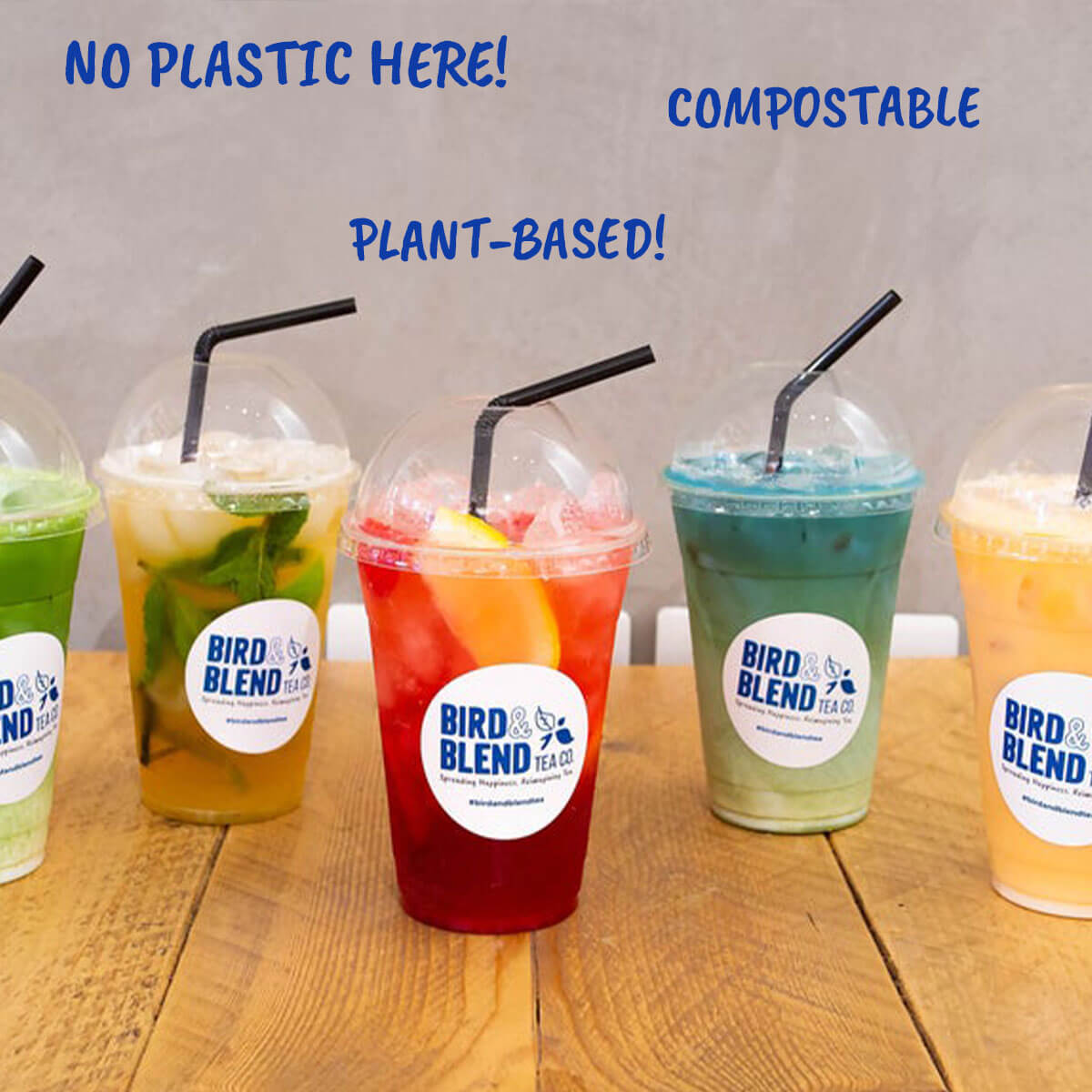 Our eco-friendly plastic-free takeaway cups. They are compostable!