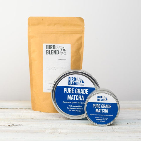 A packet and two jars of Pure Grade matcha tea