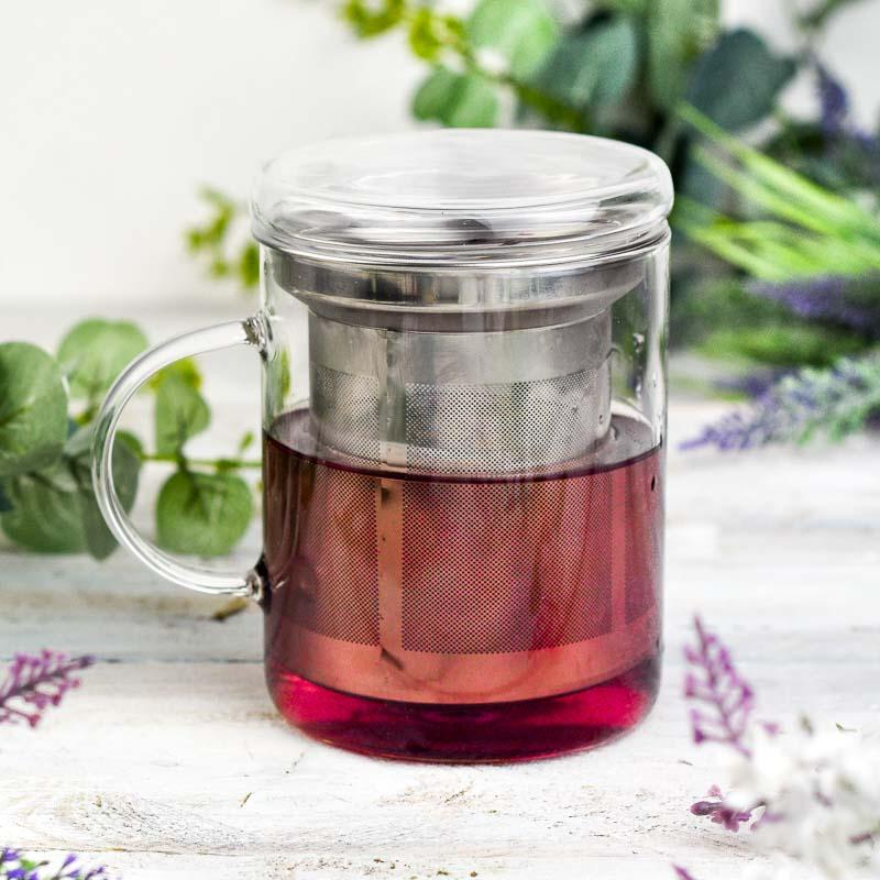 glass mug with infuser