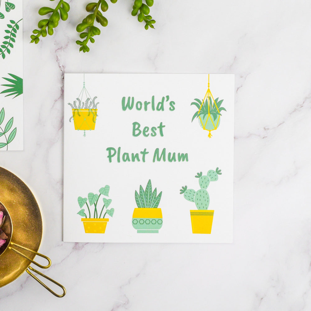 Worlds best plant mum greetings card