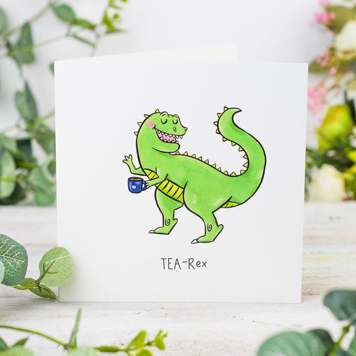 Tea-Rex Greetings Card