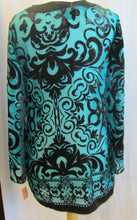 Load image into Gallery viewer, Women's - Alfani Blouse - Medium - Aqua & Black Sheer                         12-16A