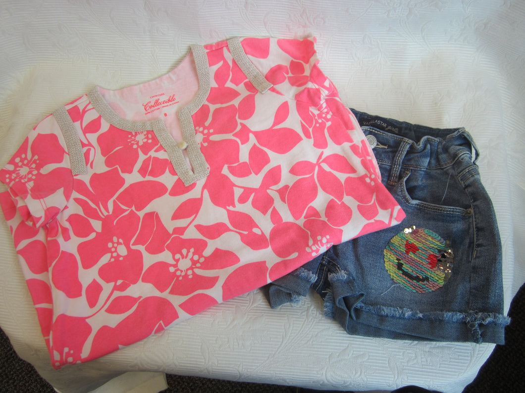 Kids - Girls Bundle - Pink Top and Shorts - Size 8           2/3A