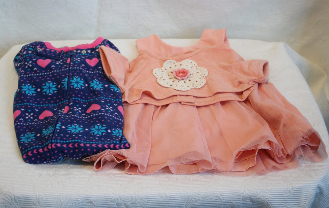Kids - Girls Bundle - Peach Dress & PJ - 12 months      2/3A