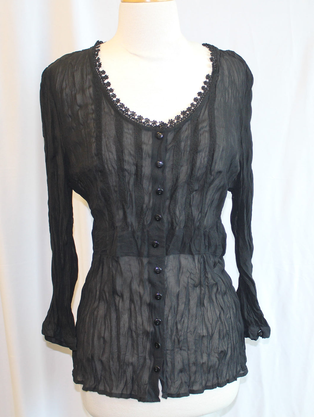 Women's Sheer Black Blouse                        12                                             3/17C