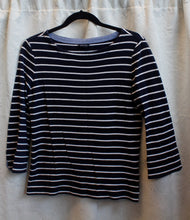 Load image into Gallery viewer, Women's Navy/White Stripes Tshirt                      S                                   1/13C