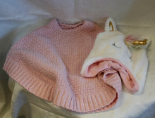 Load image into Gallery viewer, Kids - Girls Bundle - Ping Knit Poncho & Unicorn Beanie - 4T-5T     1/20C