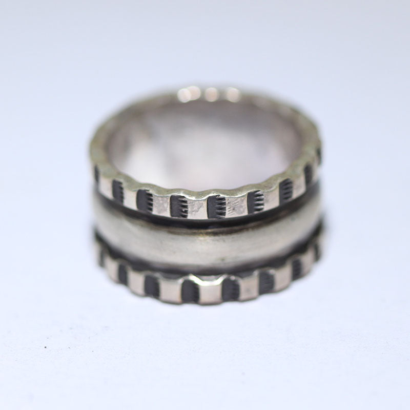 Coin Silver Ring by Darryl Dean Begay size 8
