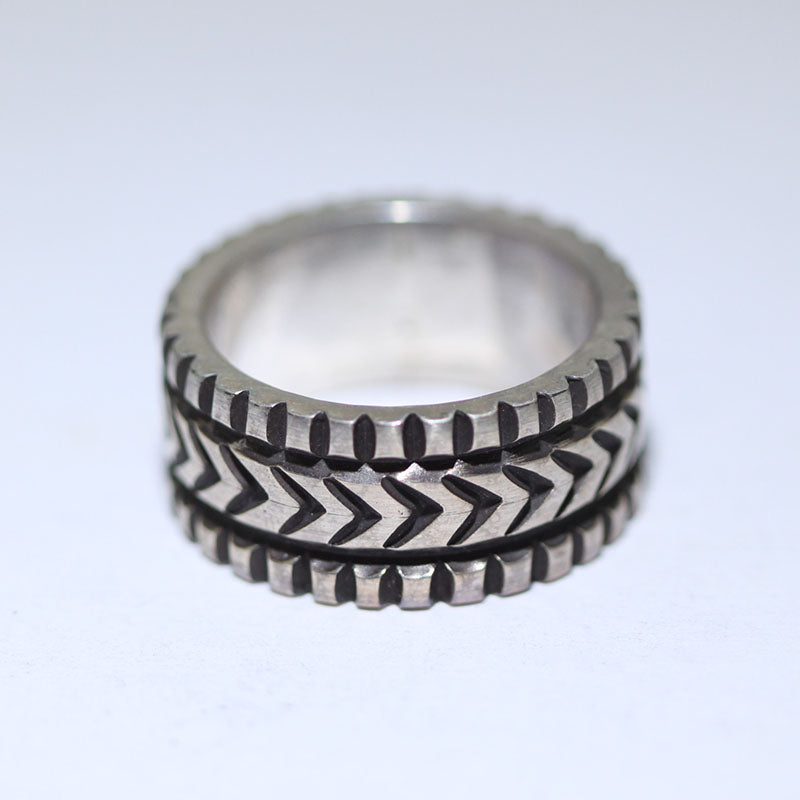 Coin Silver Ring by Darryl Dean Begay size 9.5