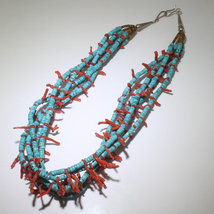 Kingman and coral necklace