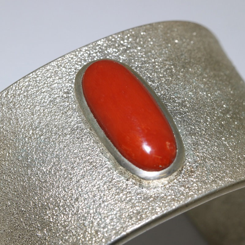 Large Coral Bracelet by Darryl Begay