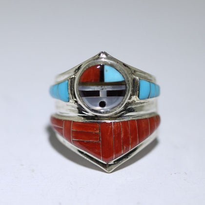 Zuni Sunface Inlay ring by Don Dewa size 7.75