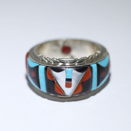 Zuni Inlay Ring by Virginia Quam Size 12