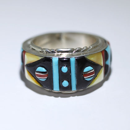 Zuni Inlay Ring by Virginia Quam Size 11.5