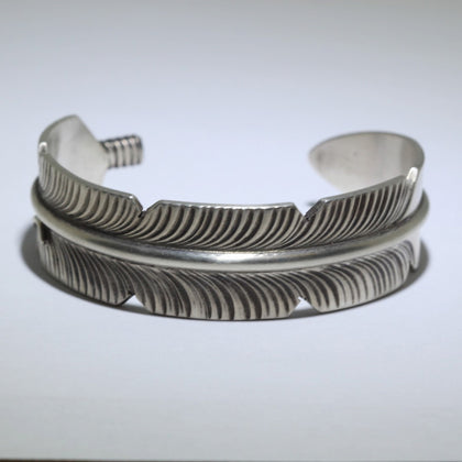 Sterling silver feather bracelet by Navajo artist