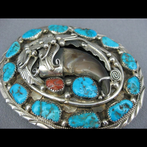 Sterling Silver Turquoise and Coral Buckle