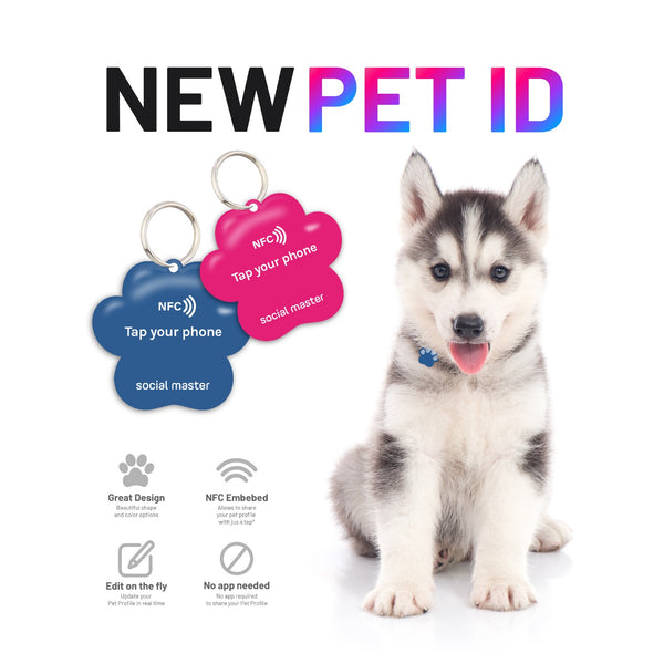 Digital pet ID social master smartphoen pet ID tag qr code dog tag easily share emergency contact information to quickly return lost dog.